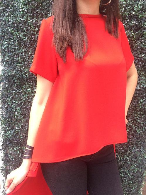 BLUSA CASCADA ELEAZAR Color: Rojo