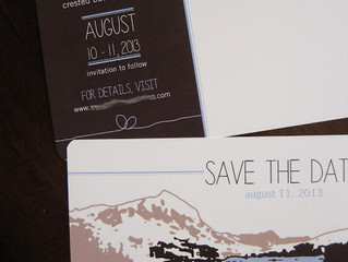 Mountain Wedding Invitations on Wood Veneer