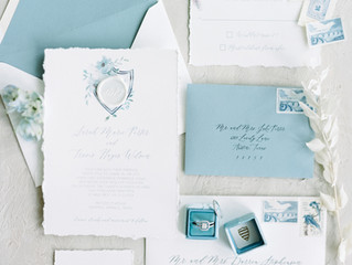 Romantic Dusty Blue Invitation Suite