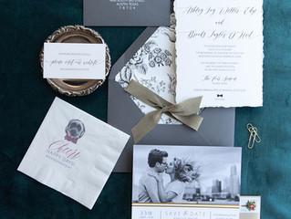 Moody wedding invitation suite