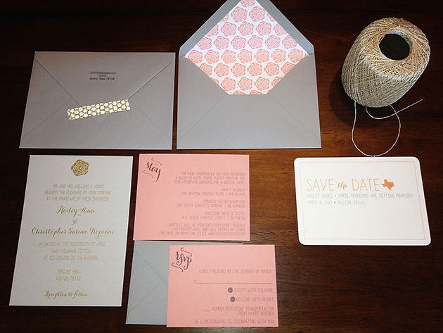 Coral Mint And Gray Invitation Set