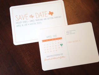 Coral, mint and gray invitation set
