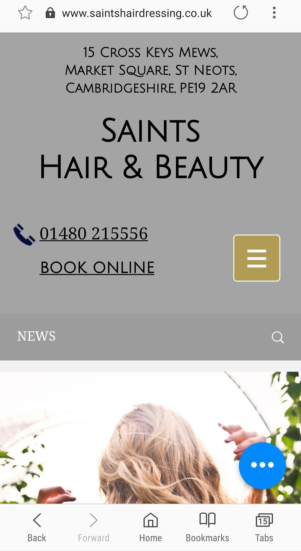 mobile, saints, hair, st neots, beauty, SEO