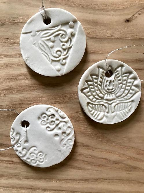 White textured wheel ornament   small