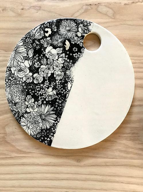 Winter flowers series in black | cheese plate