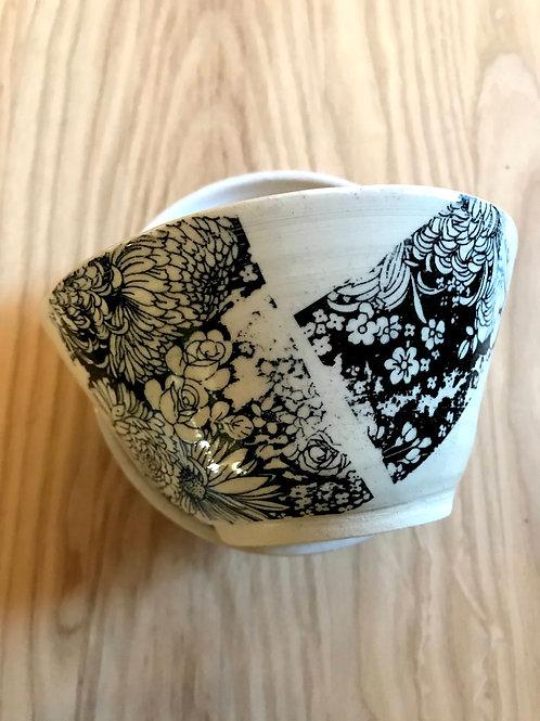 Winter flower series in black | rice bowl