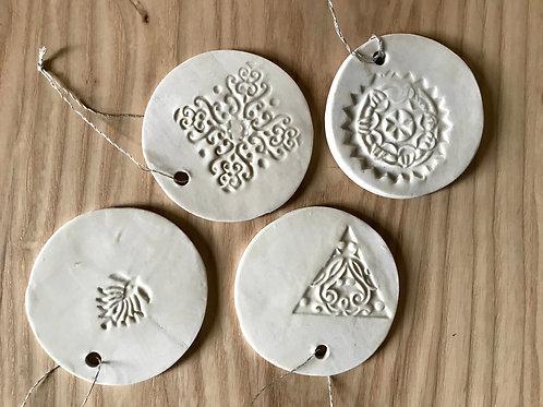 White textured wheel ornament | medium