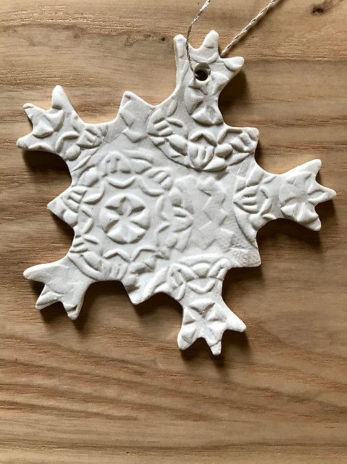 White embossed snowflake ornament