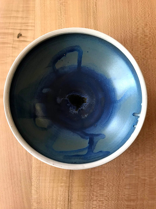 Crystallized blue and white bowl