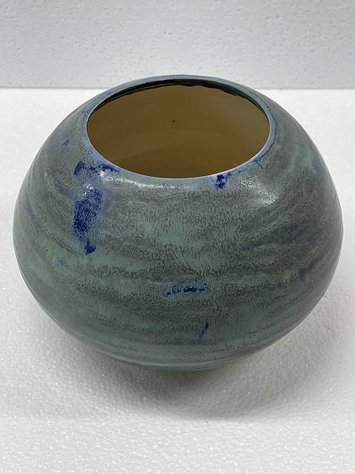 Oxidized copper green   vase