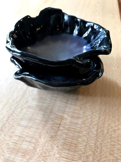 Onyx and pearl salt | pepper bowls (set of 2)