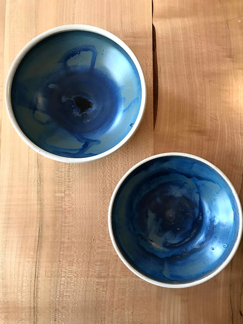 Crystallized blue and white bowls | set of 2
