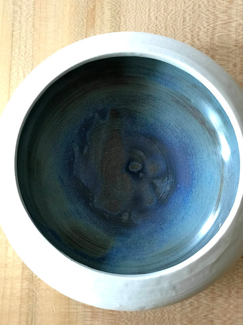 Crystallized blue-green serve bowl
