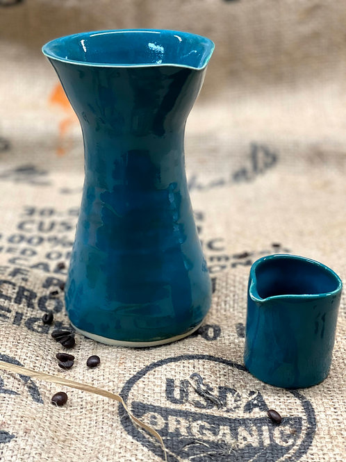 Teal pour-over set | pitcher and creamer set