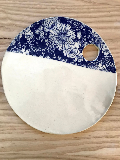 Winter flower series in blue | cheese plate