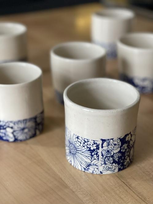 Winter flower series in blue | tea tumbler