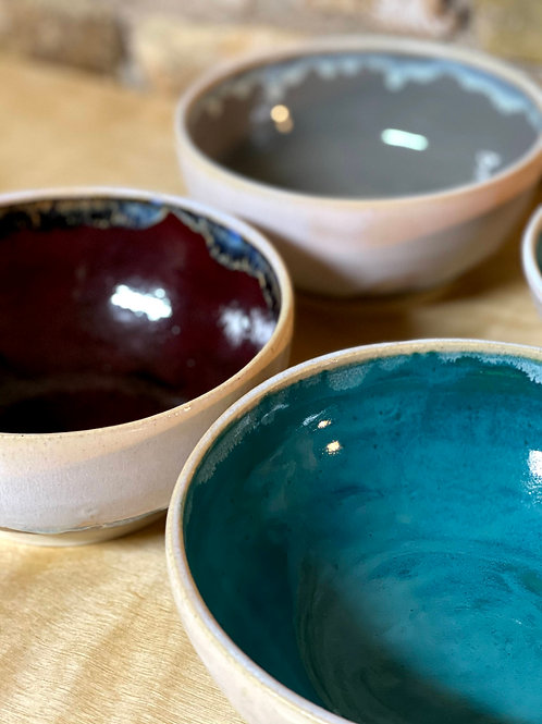 Teal and opal serve bowl | stoneware