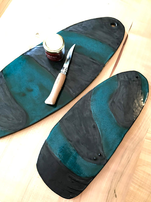 """Teal and black skateboard cheese plate 