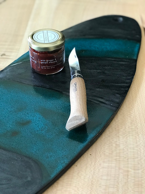 Teal and black skateboard cheese plate | 20""