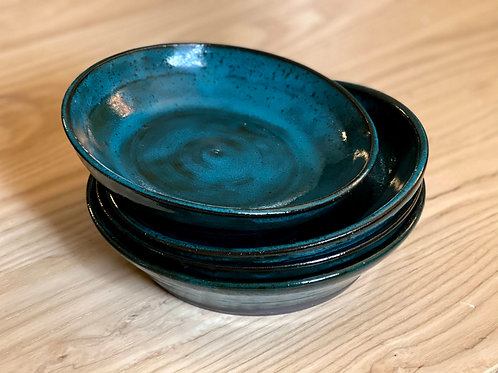 Teal wide shallow bowl