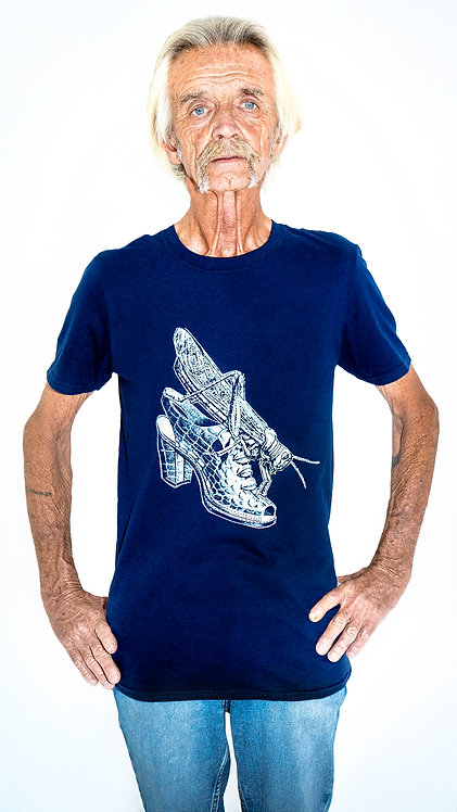 Zach Tabori -The Locust and The Shoe (white on blue) T-Shirt
