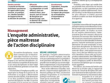 L'enquête administrative, pièce maîtresse de l'action disciplinaire