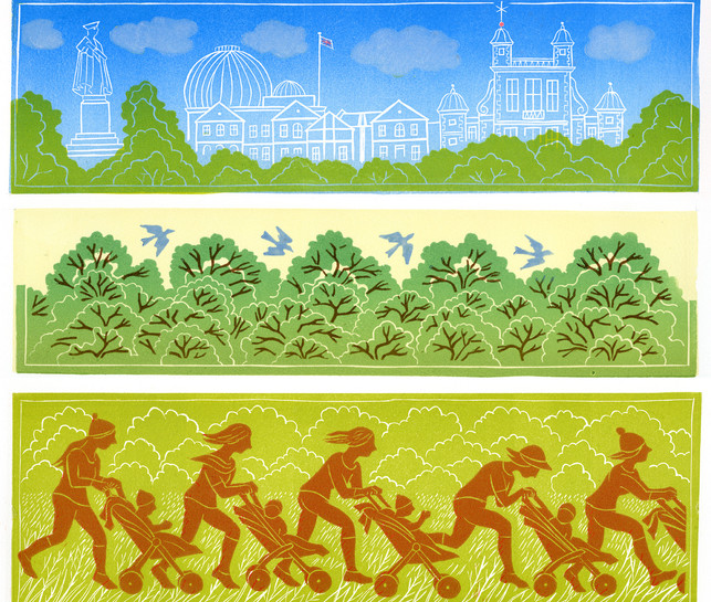 The Running Mummies  in the Park (3 linocuts)
