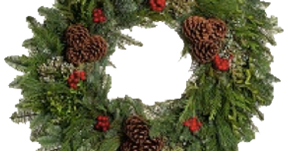 """22"""" Forest Elegance Wreath (Pickup at STA)"""