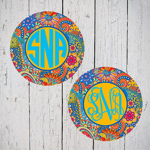 Blue Yellow Paisley Car Coasters (Set of 2)
