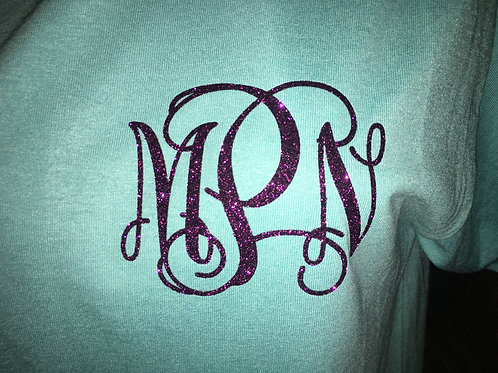 Purple Glitter Vine Monogram Short sleeve