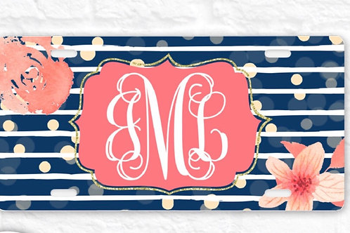 Navy Coral Floral License Plate