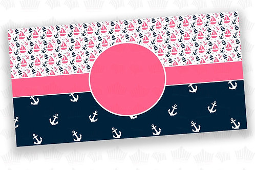 Pink and Navy Nautical License Plate