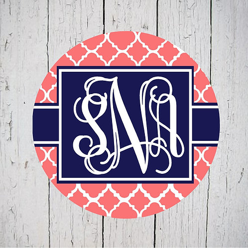 Coral Navy Lattice Car Coasters (Set of 2)
