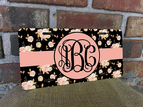 Rose Gold Black Floral License Plate