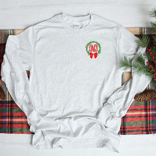 Christmas Wreath with Bow Monogram Short Sleeve