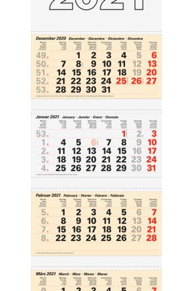 Rido 4-Monatskalender 2022 32x95,5cm Modell 33410