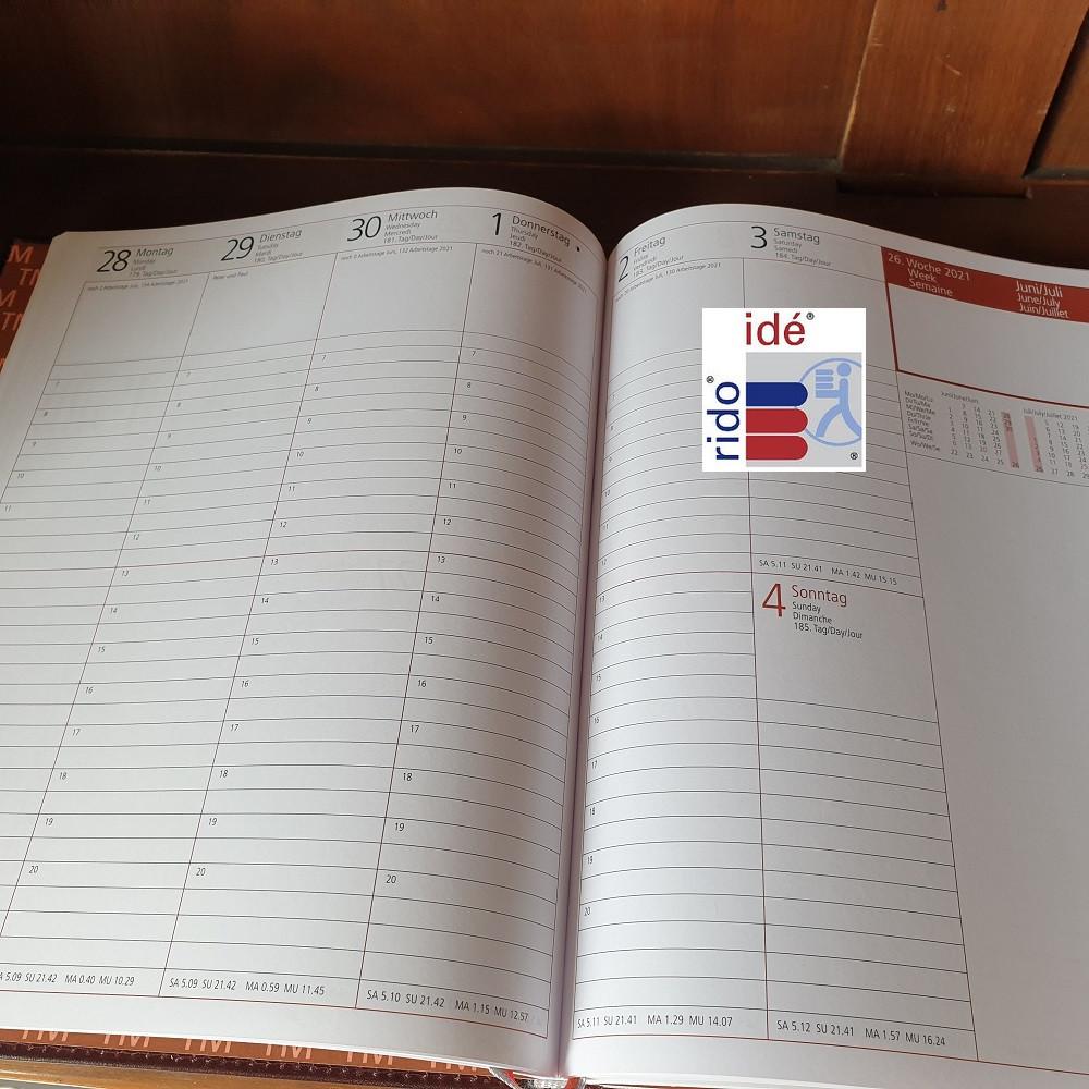 Rido Taschenkalender Technik III 1Tag//1Seite schwarz 2021