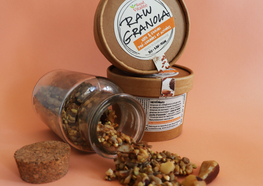 Format 65G, packaging Raw granola