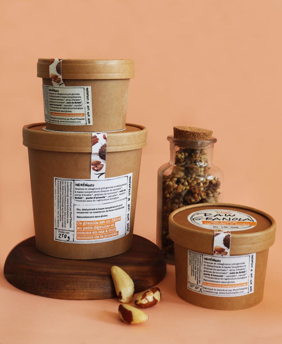 Vue d'ensemble des packaging pour Food Vitalité
