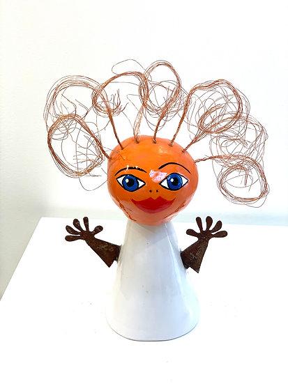 Mabelle Orange By G. Lenz - H 21 cm