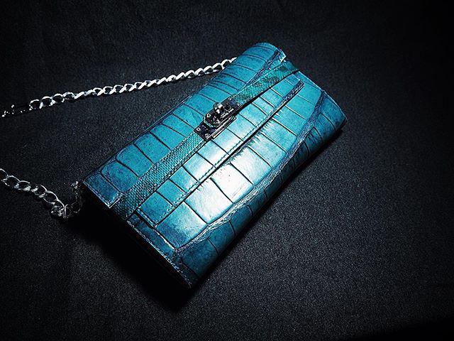 意大利藍綠色美洲鱷_女裝長銀包
