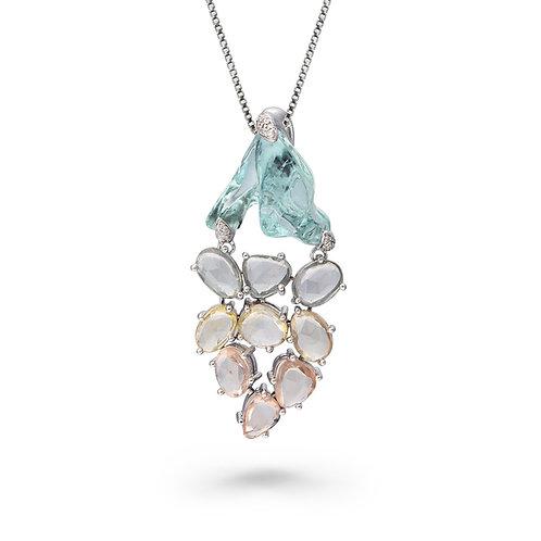 18K Gold Pendant with Uncut Aquamarine, Multi-Color Sapphires, White Diamonds