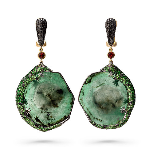 18K Gold Green Blood Lizard Earrings