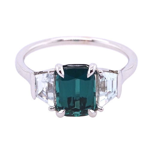 18K Gold Ring with Natural White Zircon and Afghan Blue Tourmaline Indicolite