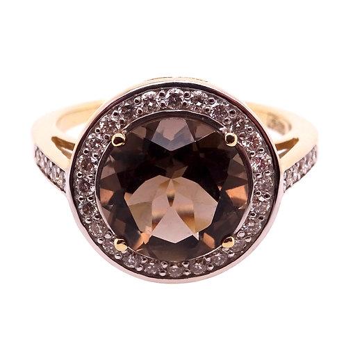 Quartz and Diamond Ring