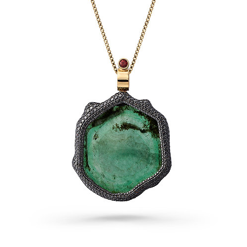 18K Gold Mirror-Mirror Pendant with Emeralds, Sapphires and Diamonds