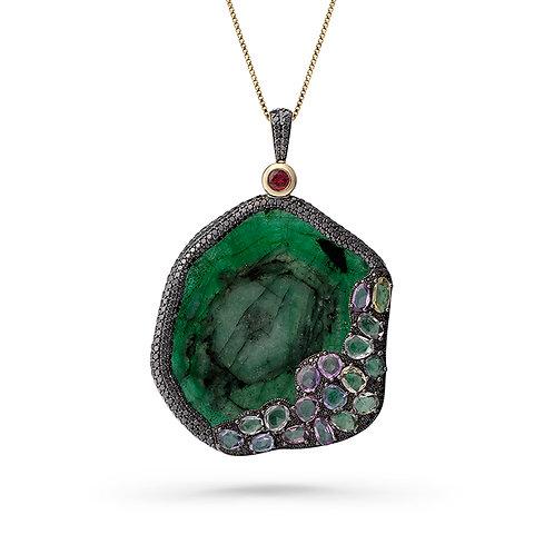 18K Gold Original Sin Pendant with Emeralds, Diamonds and Sapphires