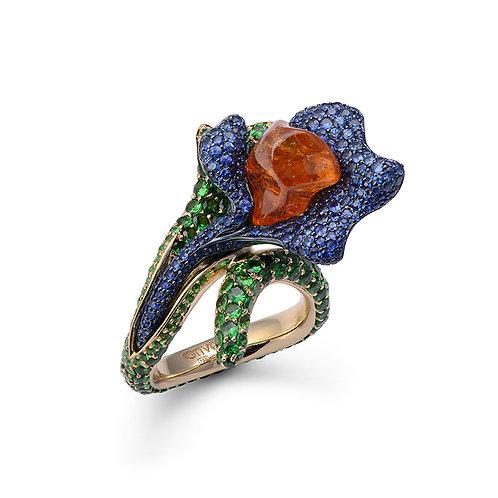 18K Gold Ring with Uncut Orange Garnet, Blue Sapphires and Tsavorites