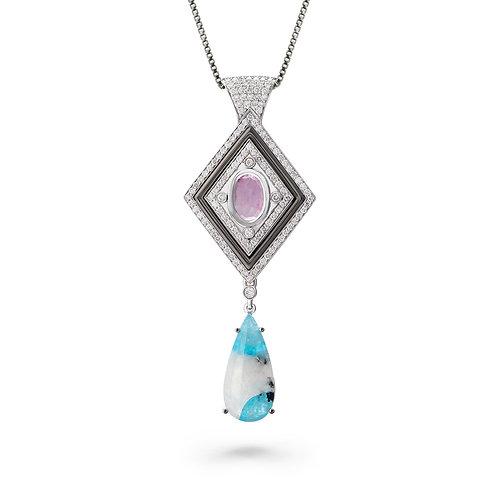 18K Gold Glacial Gleam Pendant with Diamonds, Paraiba and Sapphires