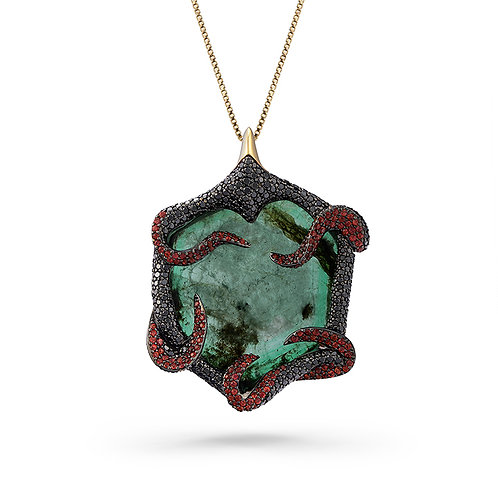 18K Gold Poison Ivy Pendant with Emeralds, Sapphires and Diamonds